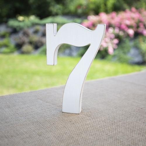 """Drewniana cyferka """"7"""" - biała"""