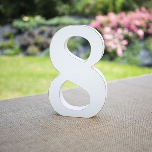 """Drewniana cyferka """"8"""" - biała"""