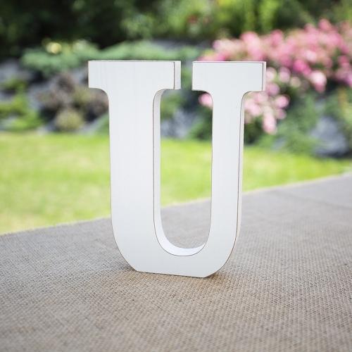 """Drewniana literka """"U"""" - biała"""