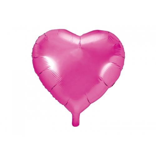 Ciemno różowy balon foliowy - serce