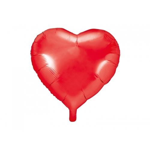 Czerwony balon foliowy - serce