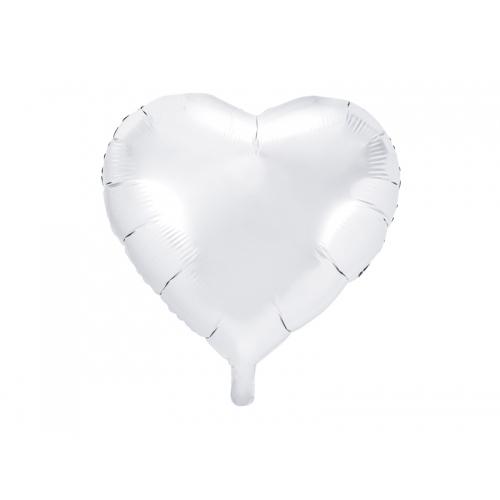 Biały balon foliowy - serce
