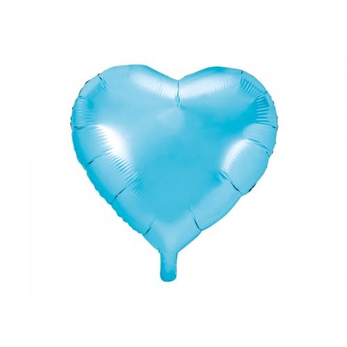 Błękitny balon foliowy - serce