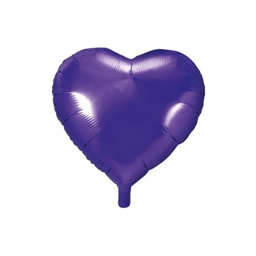 Fioletowy balon foliowy - serce