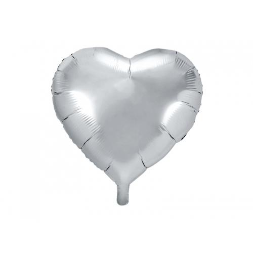 Srebrny balon foliowy - serce