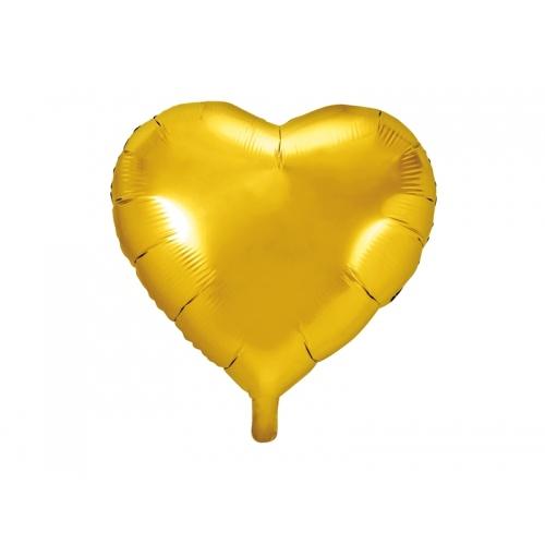 Złoty balon foliowy - serce