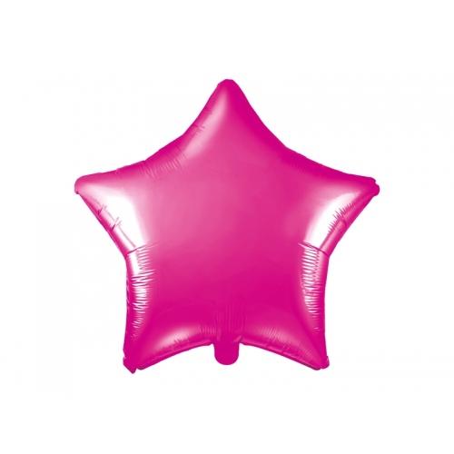 Ciemnoróżowy balon foliowy - gwiazdka