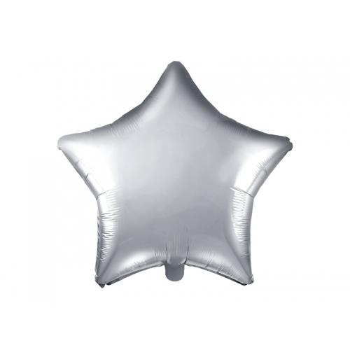 Srebrny balon foliowy - gwiazdka
