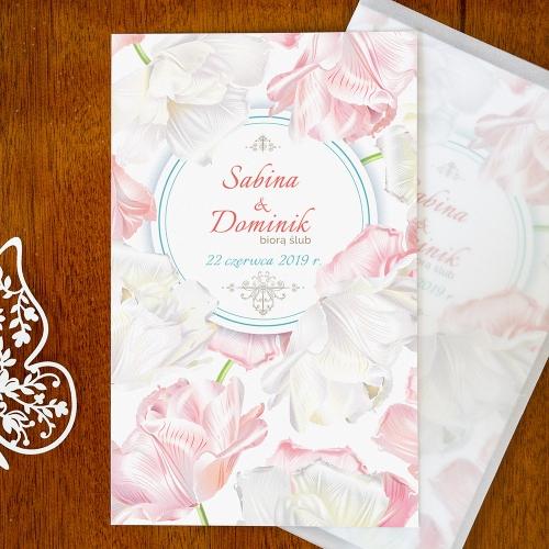 Zaproszenie ślubne - Perłowe Magiczne tulipany