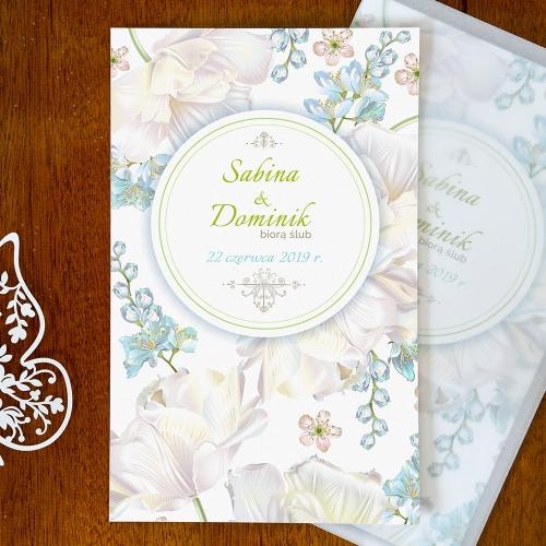 Zaproszenie ślubne - Perłowe Konwalie