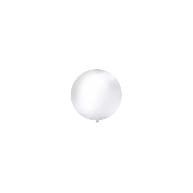 Biały, pastelowy mega balon o średnicy 1 metra