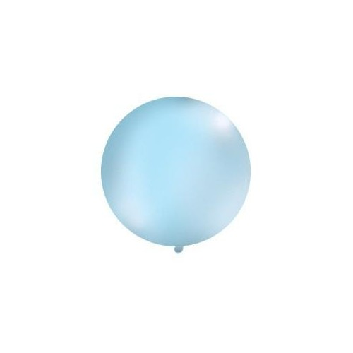 Błękitny, pastelowy mega balon o średnicy 1 metra
