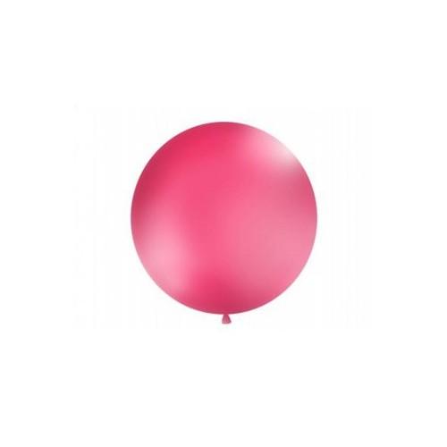 Fuksjowy, pastelowy mega balon o średnicy 1 metra