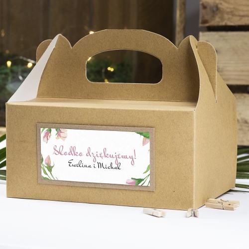Pudełko na ciasto z papieru czerpanego - Floral I