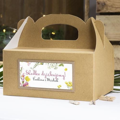 Pudełko na ciasto z papieru czerpanego - Floral II