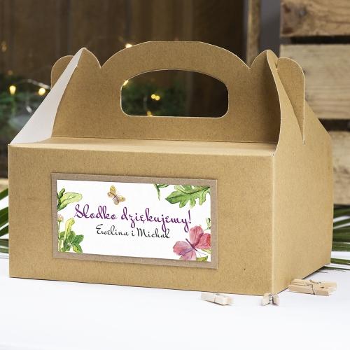 Pudełko na ciasto z papieru czerpanego - Floral V