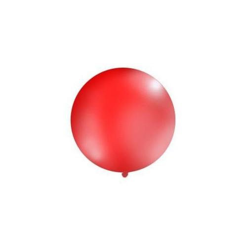 Czerwony, pastelowy mega balon o średnicy 1 metra