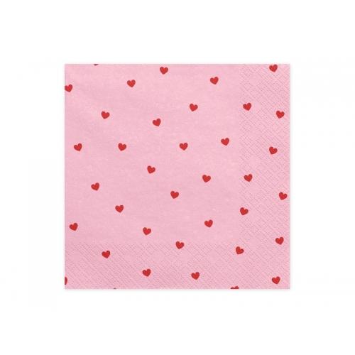 Serwetki papierowe Serca, jasny róż (20 sztuk)