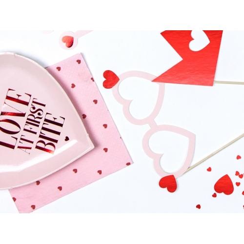 Serwetki papierowe Serca, jasny róż