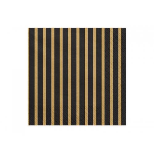 Serwetki papierowe Paski, złote (20 sztuk)