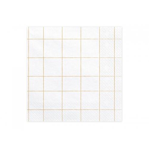Serwetki papierowe Kratka, złote (20 sztuk)