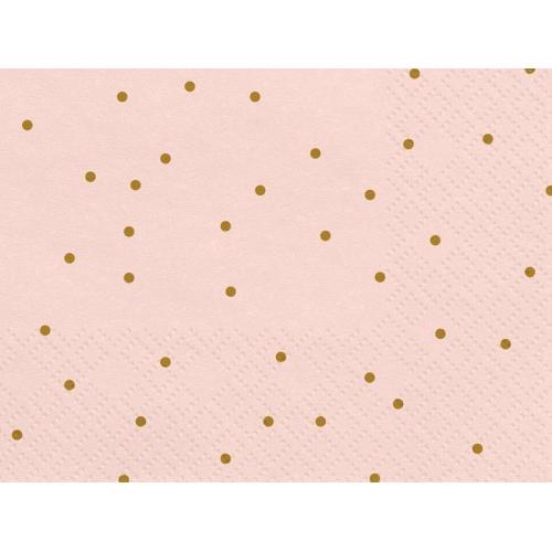 Serwetki papierowe Kropeczki, jasnoróżowe (20 szt.)