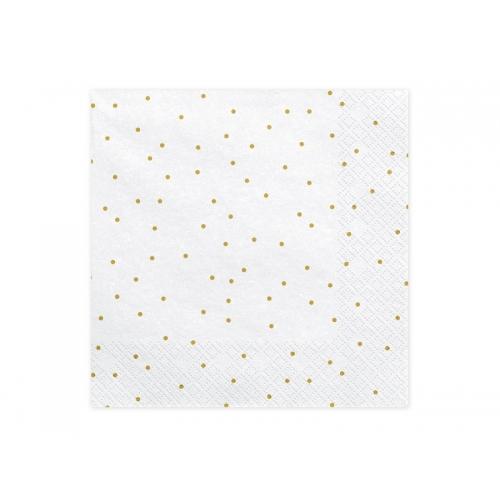 Serwetki papierowe Kropeczki, białe (20 sztuk)