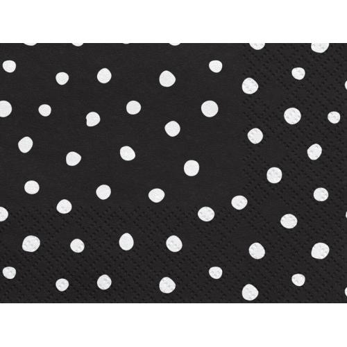 Serwetki papierowe Kropki, czarne (20 szt.)
