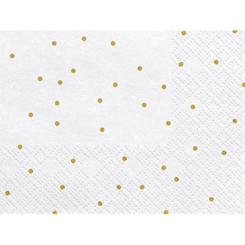 Serwetki papierowe Kropeczki, białe (20 szt.)
