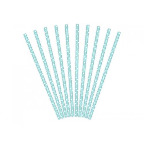 Słomki papierowe, błękitne w kropeczki (10 sztuk)