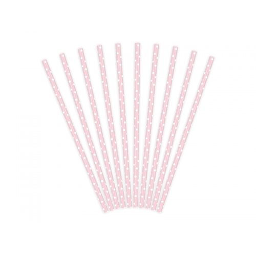 Słomki papierowe, różowe w kropeczki (10 sztuk)