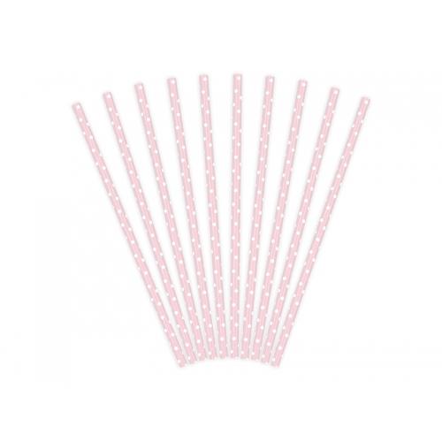 Słomki papierowe, różowe (10 szt.)