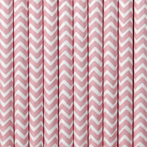 Słomki papierowe, różowe z białym wzorem (10 szt.)