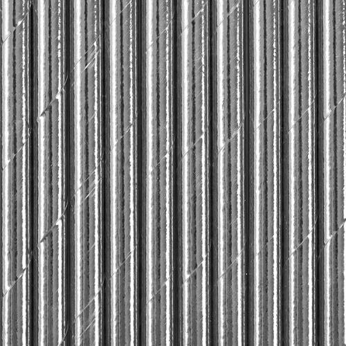 Słomki papierowe, srebrne (10 szt.)