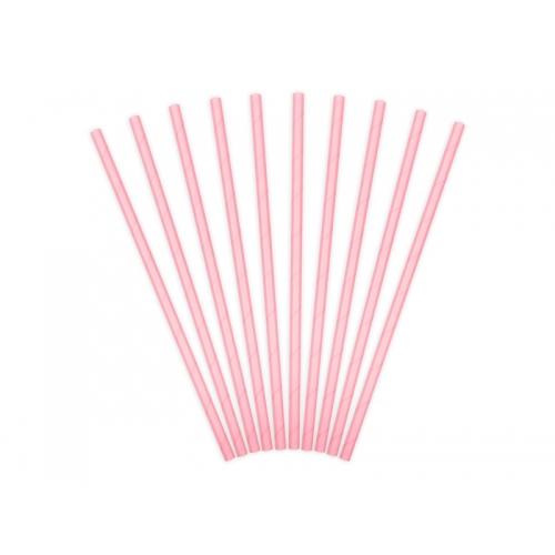 Słomki papierowe, różowe (10 sztuk)