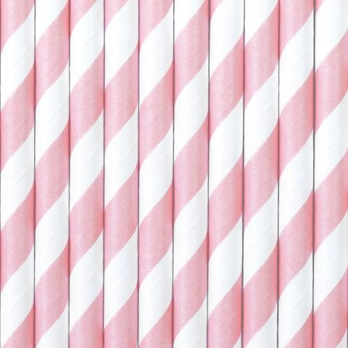 Słomki papierowe, różowe z białymi ukośnymi paskami (10 szt.)