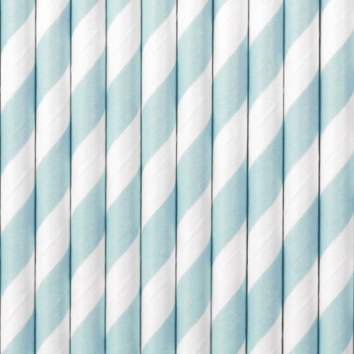 Słomki papierowe, błękitne z białymi ukośnymi paskami (10 szt.)