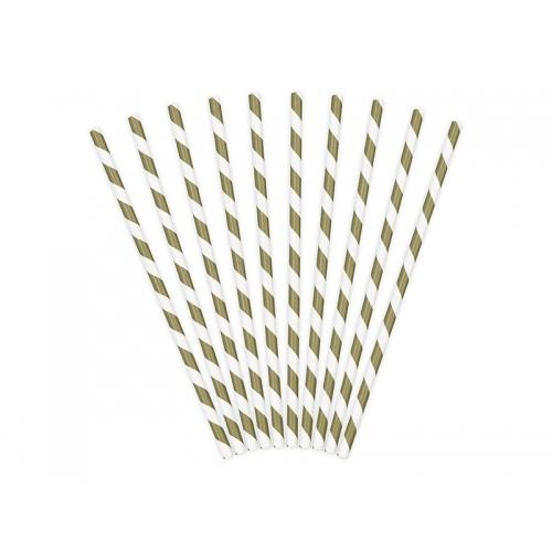 Słomki papierowe, złote z białymi ukośnymi paskami (10 szt.)