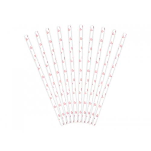 Słomki papierowe białe z różowymi serduszkami (10 szt.)