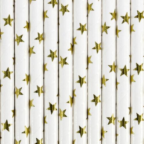 Słomki papierowe białe ze złotymi gwiazdkami (10 szt.)