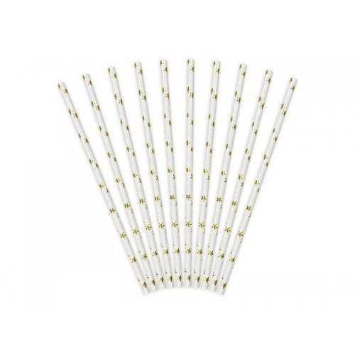Słomki papierowe białe ze złotymi gwiazdkami (10 sztuk)