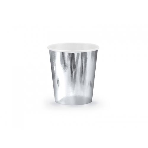 Kubeczki papierowe 180 ml, srebrne (6 sztuk)