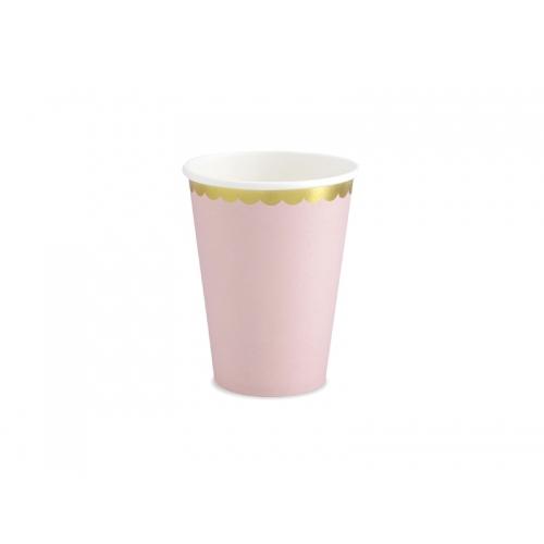Kubeczki papierowe 220 ml,jasnoróżowe ze złotymi brzegami (6 sztuk)