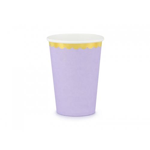 Kubeczki papierowe 220 ml, liliowe ze złotymi brzegami (6 sztuk)