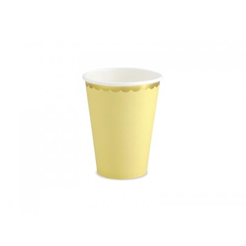 Kubeczki papierowe 220 ml, jasnożółte ze złotymi brzegami (6 sztuk)
