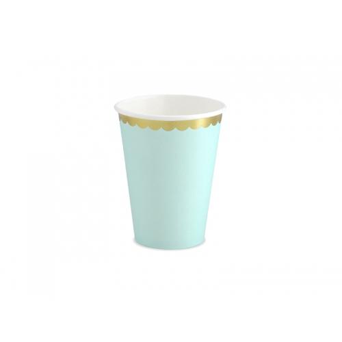 Kubeczki papierowe 220 ml, miętowe ze złotymi brzegami (6 sztuk)