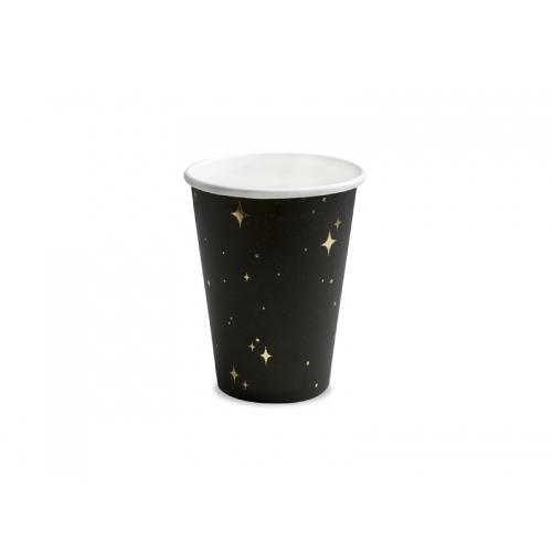 Kubeczki papierowe 260 ml, czarne ze złotym wzorem (6 sztuk)