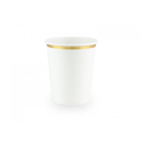 Kubeczki papierowe 260 ml, białe ze złotymi brzegami (6 sztuk)