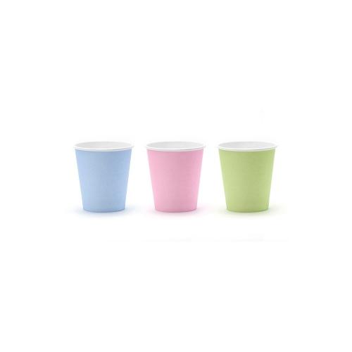 Kubeczki papierowe 180 ml, pastelowe (6 sztuk)