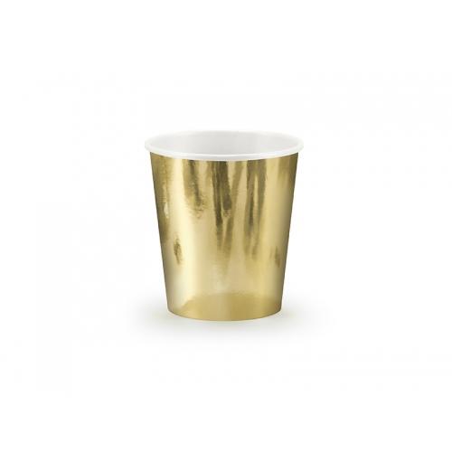 Kubeczki papierowe 180 ml, złote (6 sztuk)
